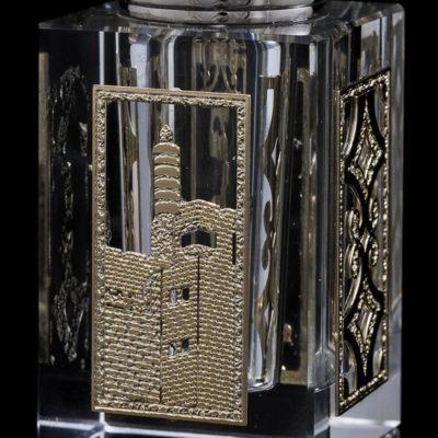 צילום מוצר - מלחיה זכוכית עם עיטור מצופה זהב