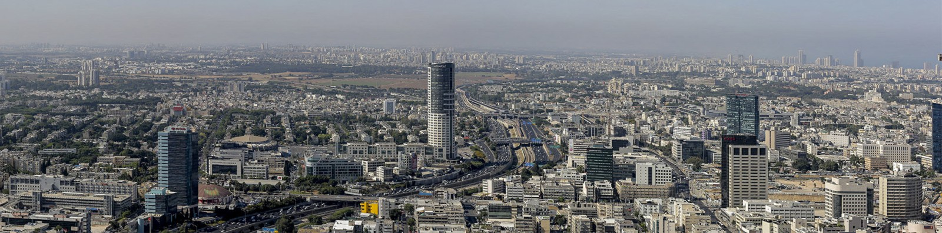 צילום פנורמי אווירי - תל אביב ממגדלי עזריאלי